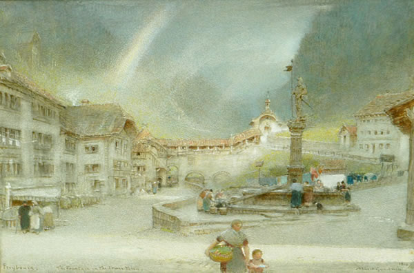 Fountain in the Lower Town by Albert Goodwin